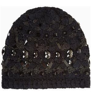 NWT BCBGMaxAzria Crystal Embellished Black Beanie